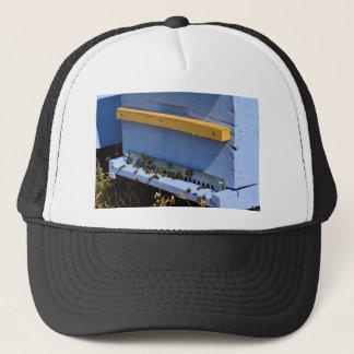 Blue beehive trucker hat