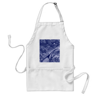 Blue Beetles Vintage Nature Print Adult Apron