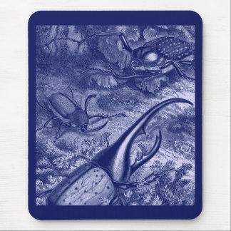 Blue Beetles Vintage Nature Print Mouse Pad