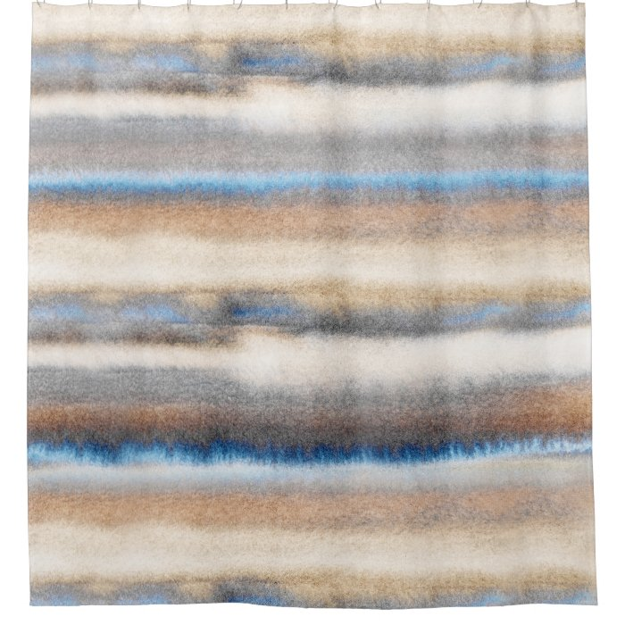 39 Blue Beige Abstract Stripes 39 Shower Curtain Zazzle