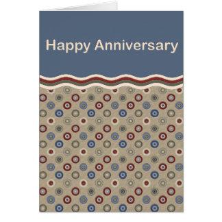 Blue Beige and Burgundy Bullseyes Anniversary Card