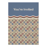 "Blue Beige and Burgundy Bullseyes Invite 5"" X 7"" Invitation Card"