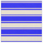 [ Thumbnail: Blue, Beige, and Medium Slate Blue Stripes Fabric ]