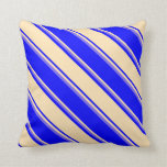 [ Thumbnail: Blue, Beige, and Medium Slate Blue Stripes Pillow ]