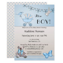 Blue Beige Bear Boy Baby Shower Invitation
