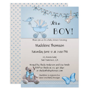 Teddy bear baby shower invitations announcements zazzle blue beige bear boy baby shower invitation filmwisefo