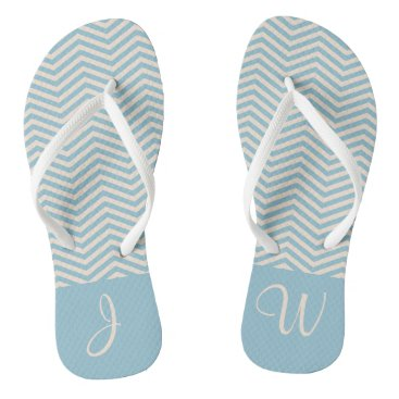 Beach Themed Blue & Beige Chevron Chic Wavey Pattern Monogram Flip Flops