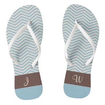 Beach Themed Blue & Beige Chevron Pattern Brown Monogram 2 Flip Flops
