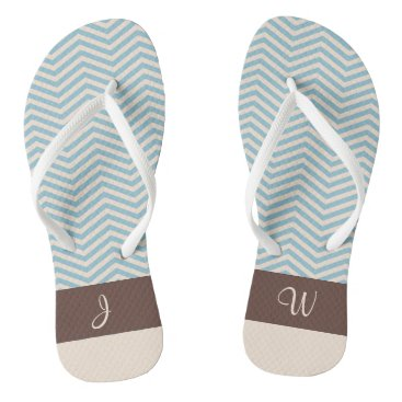 Beach Themed Blue & Beige Chevron Pattern Brown Monogram 3 Flip Flops