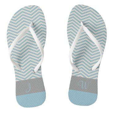 Beach Themed Blue & Beige Chevron Pattern Gray Monogram 3 Flip Flops