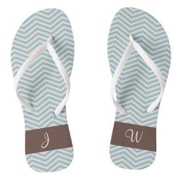 Beach Themed Blue & Beige Chevron Wavey Pattern Brown Monogram Flip Flops