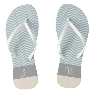 Beach Themed Blue & Beige Chevron Wavey Pattern Gray Monogram 2 Flip Flops