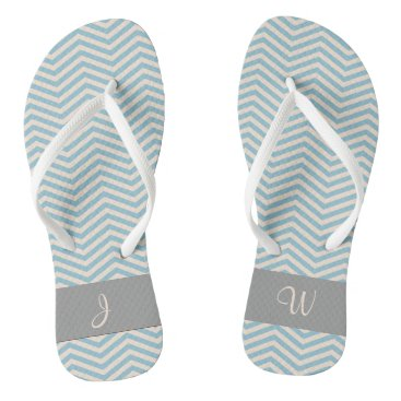 Beach Themed Blue & Beige Chevron Wavey Pattern Gray Monogram Flip Flops