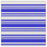 [ Thumbnail: Blue & Beige Colored Lines Pattern Fabric ]