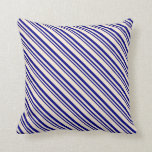 [ Thumbnail: Blue & Beige Colored Lines/Stripes Pattern Pillow ]