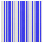 [ Thumbnail: Blue & Beige Colored Striped/Lined Pattern Fabric ]