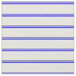[ Thumbnail: Blue & Beige Colored Stripes Fabric ]