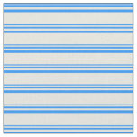 [ Thumbnail: Blue & Beige Colored Stripes/Lines Pattern Fabric ]