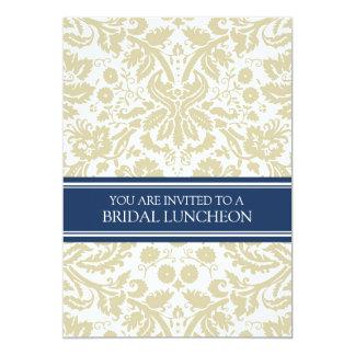 Blue Beige Damask Bridal Lunch Invitation