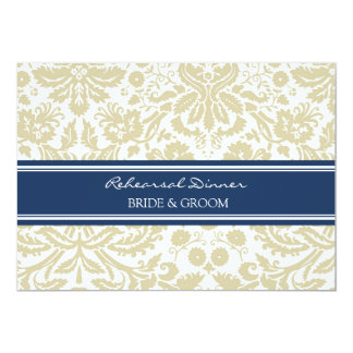 Blue Beige Damask Rehearsal Dinner Party Personalized Announcement
