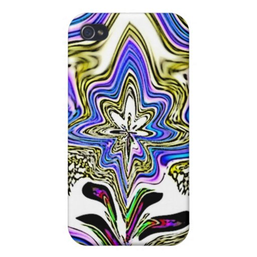 Blue Beige Fractal Flower Speck Case iPhone 4/4S Covers
