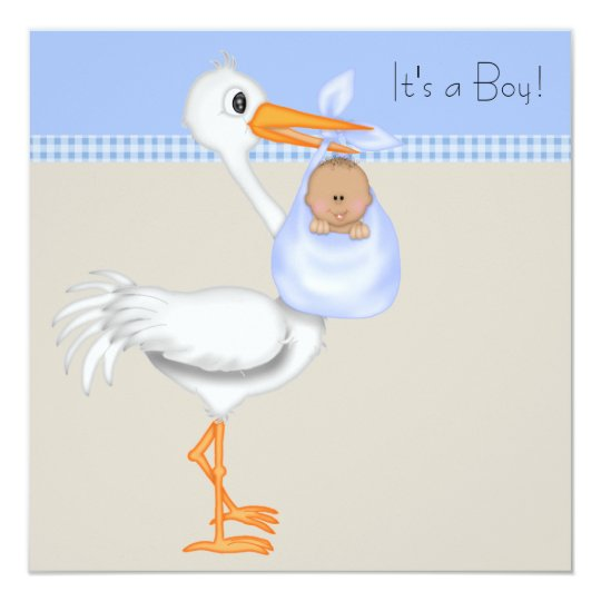 Blue Beige Gingham Stork Baby Boy Shower Card