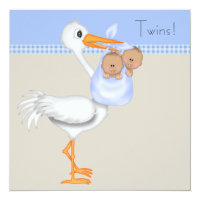 Blue Beige Gingham Stork Twin Boy Baby Shower Card