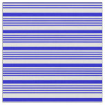 [ Thumbnail: Blue & Beige Lined/Striped Pattern Fabric ]