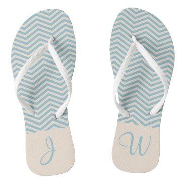 Beach Themed Blue & Beige Modern Cute ChevronPattern Monogram 2 Flip Flops