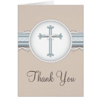 Blue | Beige Religious Celebration Thank You Card