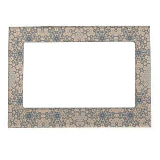 Blue Beige Tapestry Look Magnetic Picture Frame