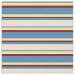 [ Thumbnail: Blue, Beige, Yellow, and Maroon Colored Stripes Fabric ]