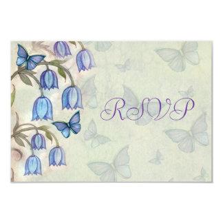 Blue Bell Butterflies Spring Floral Wedding RSVP Card