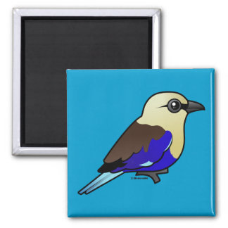 Blue-bellied Roller 2 Inch Square Magnet