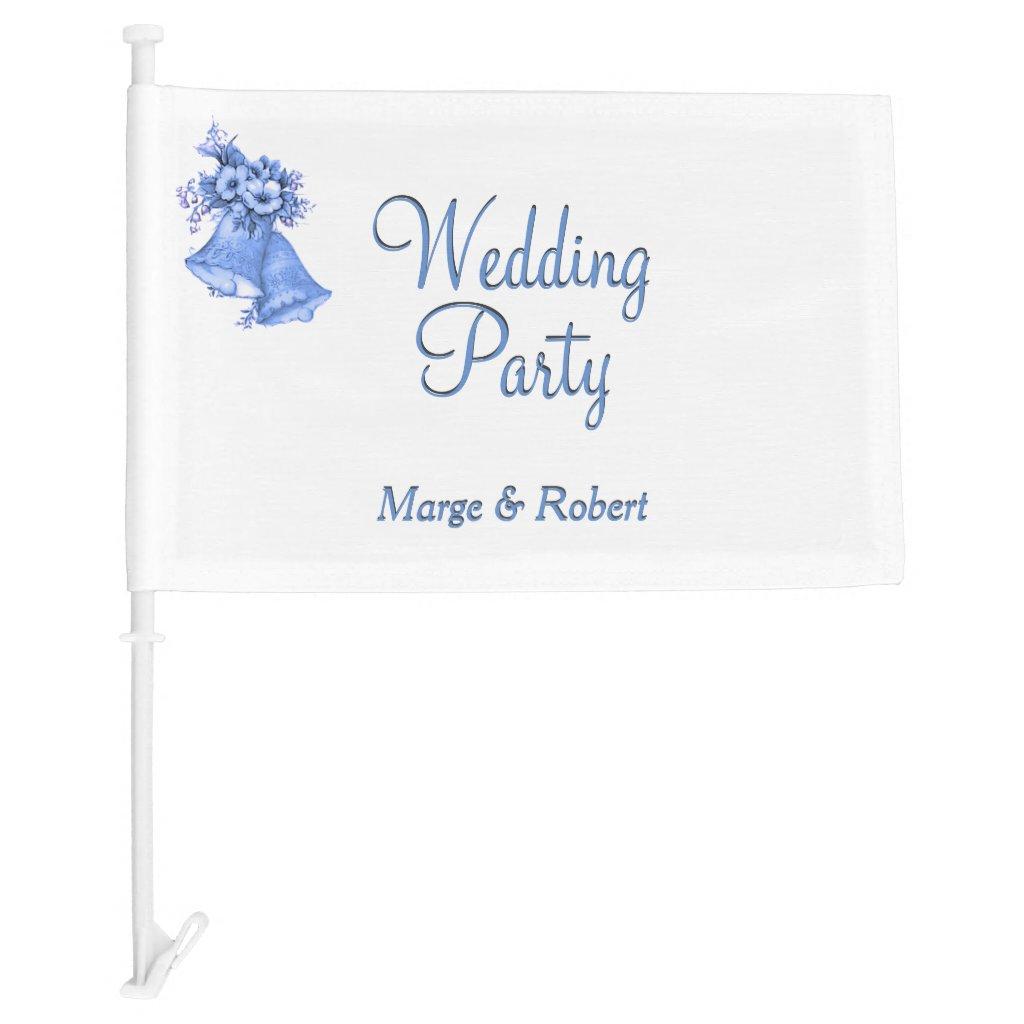 Blue Bells Wedding Party Car Flag