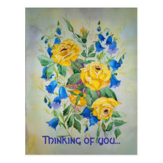Blue bells with rose Thinking of you Post Card