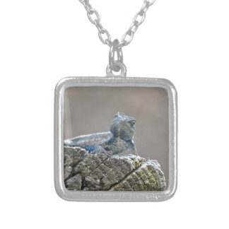 Blue Belly Alligator Lizard Silver Plated Necklace