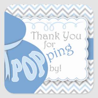 Blue Belly Bump Baby Shower Favor Stickers
