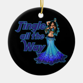 Blue belly dancer Double-Sided ceramic round christmas ornament