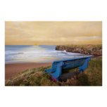 blue bench sunset view poster