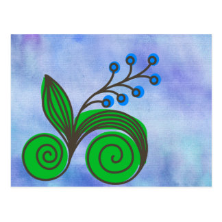 Blue Berries and Rolls of Leaves Postcard