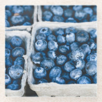 Blue Berries in a Basket Glass Coaster