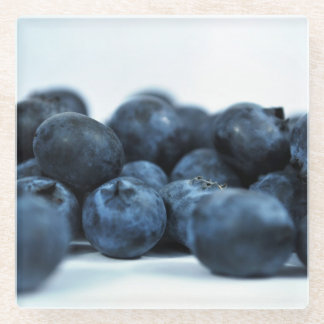 Blue Berries on White Table Glass Coaster
