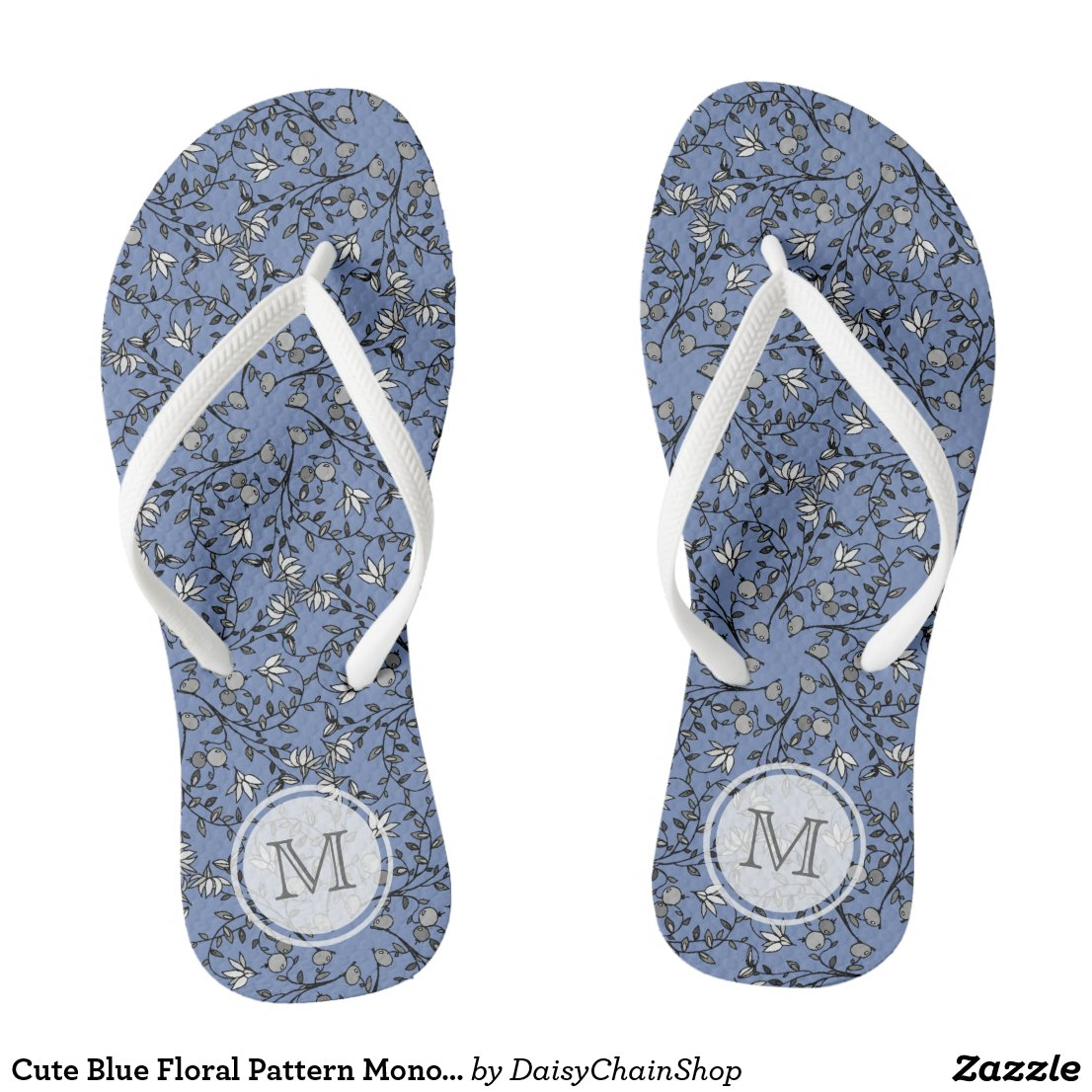 Blue Berry And Floral Pattern And Initial Flip Flops