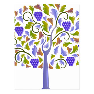 Blue Berry and Heart Tree Postcard
