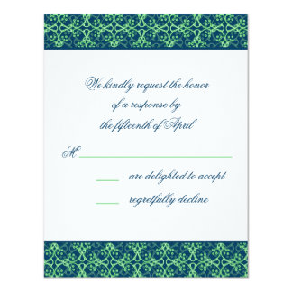 """Blue Berry Cluster Response Card 4.25"""" X 5.5"""" Invitation Card"""