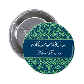 Blue Berry Cluster Wedding Party Button