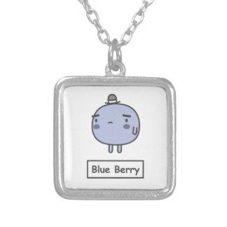 Blue Berry Square Pendant Necklace