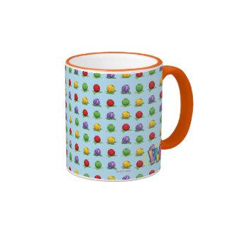 Blue Berry Pattern Ringer Coffee Mug