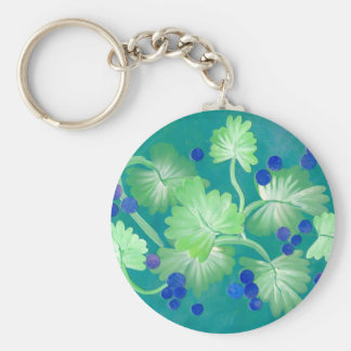 Blue berry vine painted charm for your keys keychain